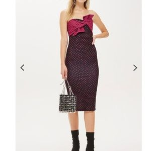 Topshop Spot Bow Twist Midi Dress
